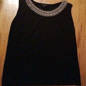 August silk black short sleeve top with beads